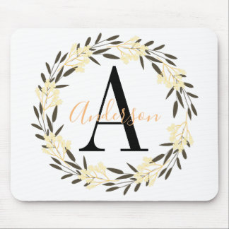 Pretty Yellow and Black Floral Wreath Monogrammed マウスパッド