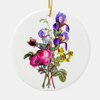 Prevost著アイリス、バラおよびスイセンの花束 セラミックオーナメント