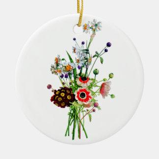 Prevost著アネモネのAuricula及びNarcissisの花束 セラミックオーナメント