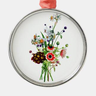 Prevost著アネモネのAuricula及びNarcissisの花束 メタルオーナメント