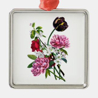 Prevost著シャクヤクの、ばら色およびチューリップの花束 メタルオーナメント