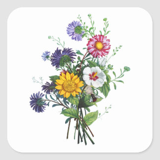 Prevost著ジニア、Hollyhocks及びヒマワリの花束 スクエアシール