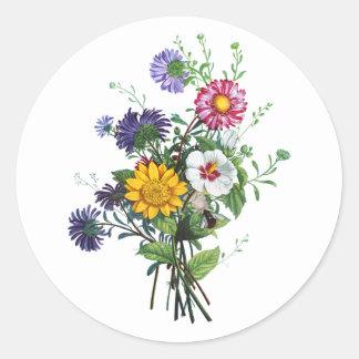 Prevost著ジニア、Hollyhocks及びヒマワリの花束 ラウンドシール