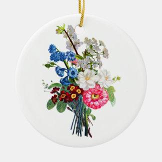 Prevost著ツバキそしてAuriculaの花束 セラミックオーナメント