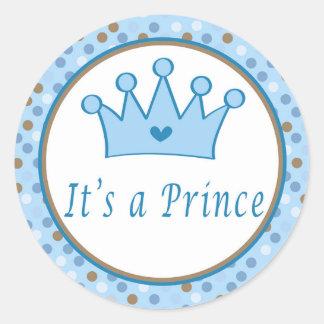 Prince polka blue brown labels ラウンドシール