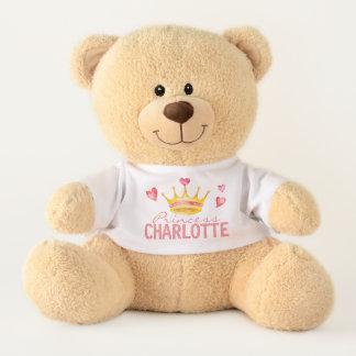 Princess ANY NAME Cute Personalized Hearts & Tiara テディベア