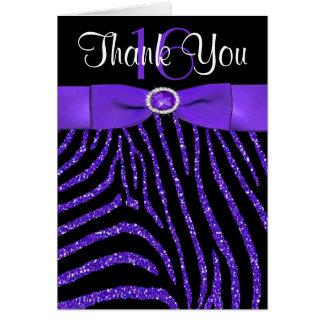 PRINTED RIBBON Purple, Black Zebra Thank You Card カード