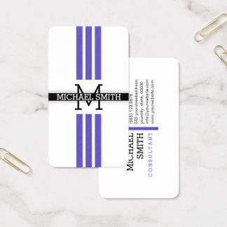 Professional Monogram Modern Iris Stripes 名刺