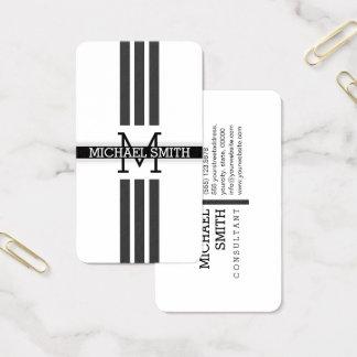 Professional Monogram Modern Jet Stripes 名刺