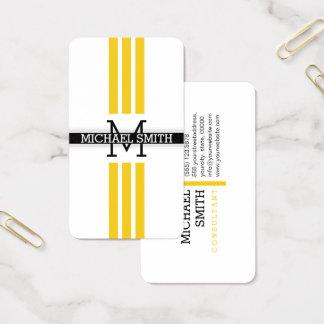 Professional Monogram Modern Jonquil Stripes 名刺