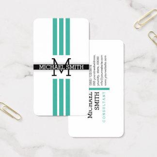 Professional Monogram Modern Keppel Stripes 名刺