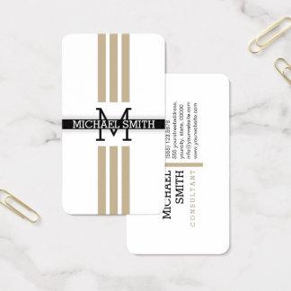 Professional Monogram Modern Khaki Stripes 名刺