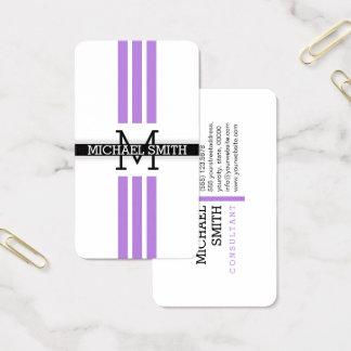 Professional Monogram Modern Lavender Stripes 名刺