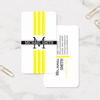 Professional Monogram Modern Lemon Stripes 名刺