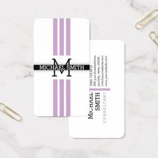 Professional Monogram Modern Lilac Stripes 名刺