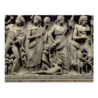 Prometheusおよびtを描写するレリーフ、浮き彫りの石棺 ポストカード