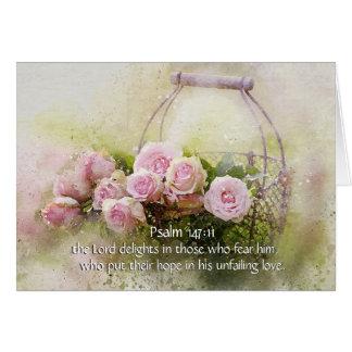 Psalm 147:11 Inspiring Bible Verse Pink Roses カード