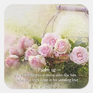 Psalm 147:11 Inspiring Bible Verse Pink Roses スクエアシール