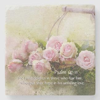 Psalm 147:11 Inspiring Bible Verse Pink Roses ストーンコースター