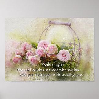 Psalm 147:11 Inspiring Bible Verse Pink Roses ポスター