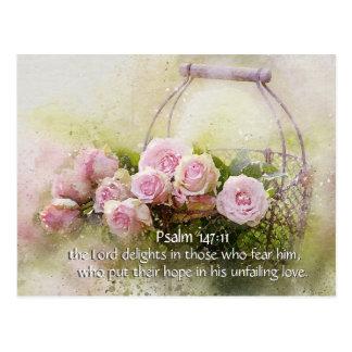 Psalm 147:11 Inspiring Bible Verse Pink Roses ポストカード