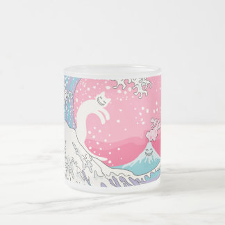 Psychodelic Bubblegum Kunagawaのサーファー猫 フロストグラスマグカップ