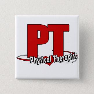 PTのロゴの大きく赤い    理学療法士 5.1CM 正方形バッジ