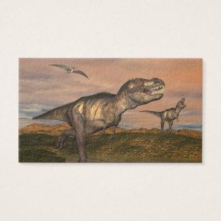 pteraと歩いている2匹のティラノサウルス・レックスのレックスの恐竜 名刺