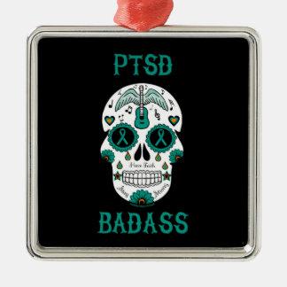 PTSD Badassの砂糖のスカル メタルオーナメント