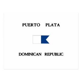 Puerto Plataのドミニカ共和国のアルファ飛び込みの旗 ポストカード