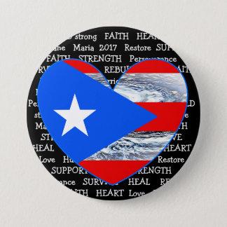 Puerto Rico Flag Hurricane Maria 2017 Button 7.6cm 丸型バッジ