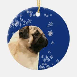 Pug Christmas Winter Holiday Ornament セラミックオーナメント