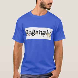 Pugaholicの男性暗いTシャツ Tシャツ