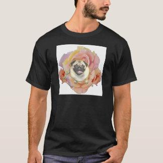 PugFlowerの男性暗いTシャツ Tシャツ