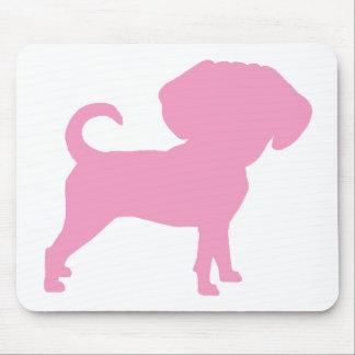 Puggleおもしろいでかわいく大きいヘッド犬(ピンク) マウスパッド