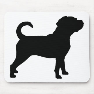 Puggle犬のシルエット マウスパッド
