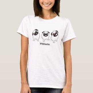PUGholicMONOラインパグ Tシャツ