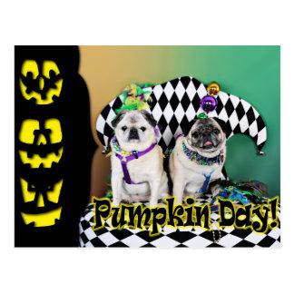 Pugsgivingの謝肉祭2015年の- Pippin Fugoh -パグ ポストカード