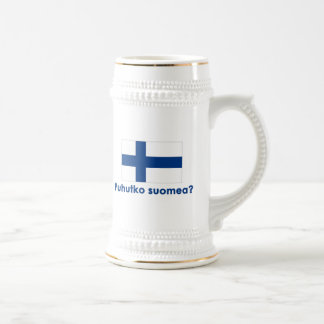 Puhutko Suomeaか。 (フィンランドを話して下さいか。) ビールジョッキ