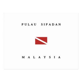 Pulau Sipadanのスキューバ飛び込みの旗 ポストカード