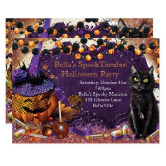 Pumpkin Cat Halloween Party Invitations 12.7 X 17.8 インビテーションカード
