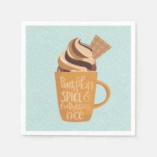 Pumpkin Spice and Everything Nice Latte Napkins スタンダードカクテルナプキン