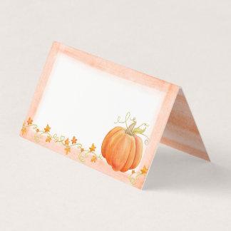 Pumpkin watercolor art fall thanksgiving cards プレイスカード