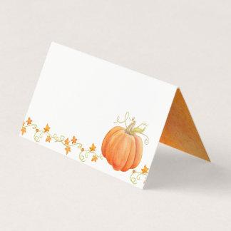 Pumpkin watercolor fall thanksgiving place cards プレイスカード