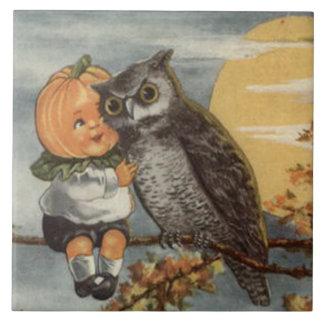 Pumpkinheadのフクロウの満月の木のカボチャ タイル