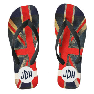 Punked英国国旗のモノグラムのビーチサンダル ビーチサンダル