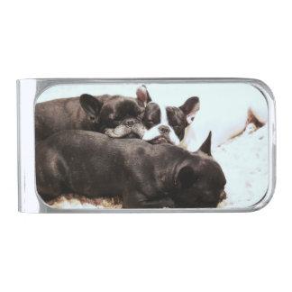 puppies.pngのフレンチ・ブルドッグの山 シルバー マネークリップ