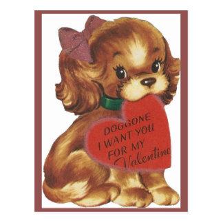 Puppy Valentineヴィンテージの女性 ポストカード