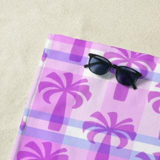 Pupuleのハワイのヴィンテージのヤシの木の格子縞の紫色 ビーチタオル