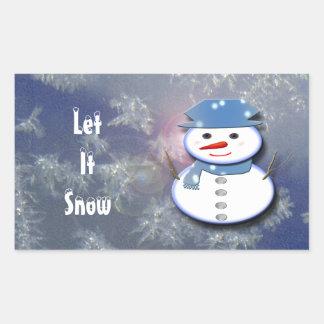 Pure White Snowman 長方形シール